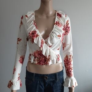 Asos Cropped Long Sleeve Floral Top Sz 4
